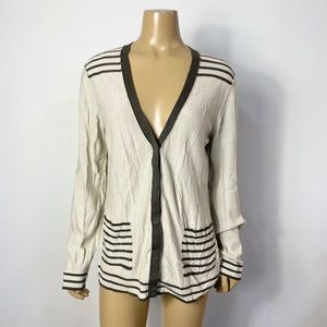 St. John womens striped cotton blend knit cardigan